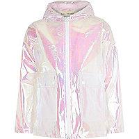 Girls white iridescent rain coat