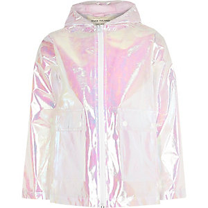 Girls white iridescent rain coat
