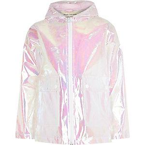 Witte reflecterende regenjas voor meisjes