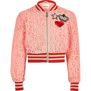 Girls pink lace cropped bomber jacket