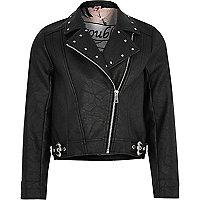 Girls black studded biker jacket