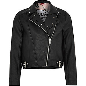 Girls black studded biker jacket