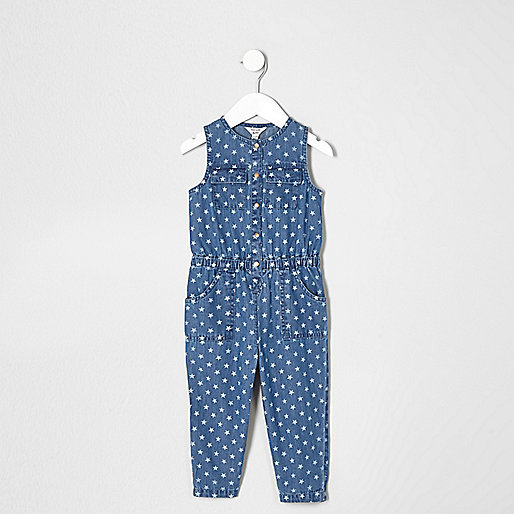 Mini girls blue denim star print jumpsuit