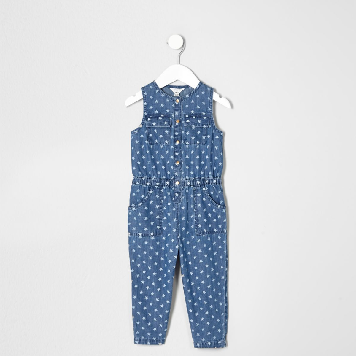 Mini girls blue denim star print jumpsuit