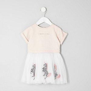 Mini girls pink sequin unicorn layered dress