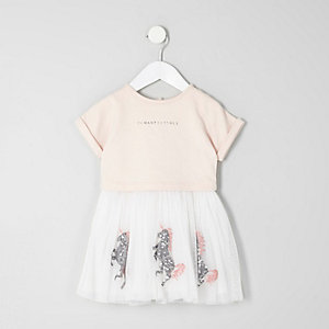 Mini girls pink sequin unicorn layered dress