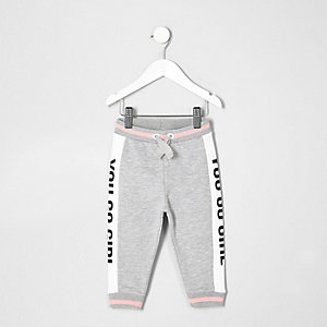 Pantalon de jogging gris You Go Girl pour mini fille