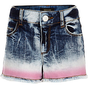 Girls blue tie dye denim boyfriend shorts