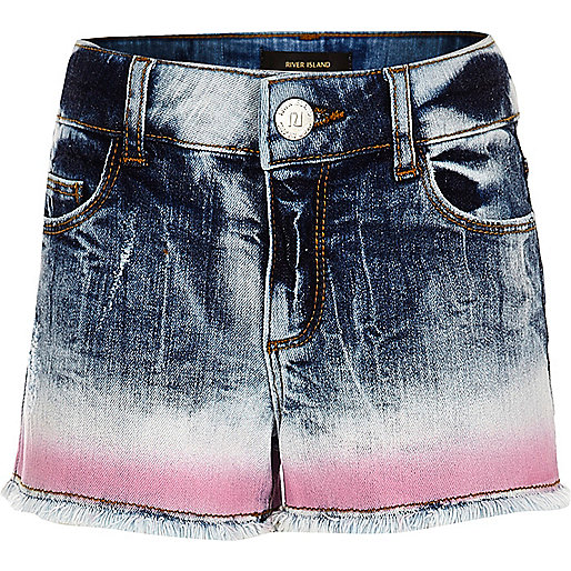 Girls blue tie dye denim boyfriend shorts