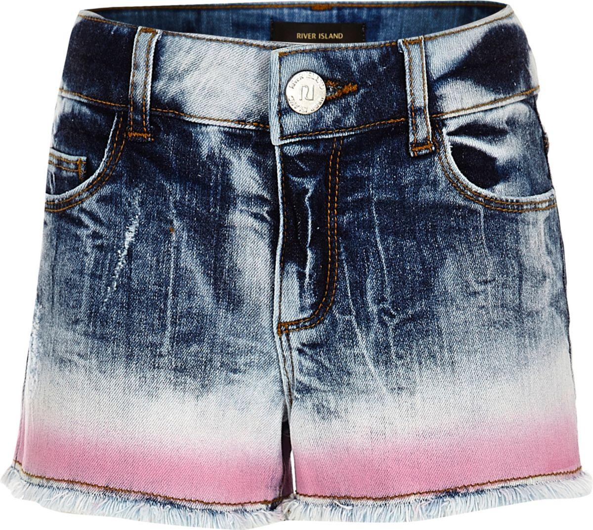 Short en jean boyfriend bleu effet tie and dye pour fille