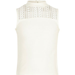 Girls white lace sleeveless top