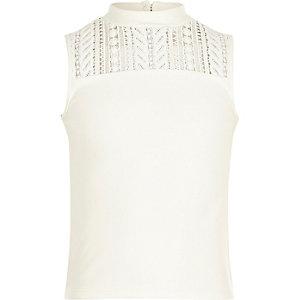 Girls white lace sleeveless top