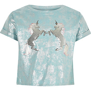 Girls light blue unicorn cropped T-shirt