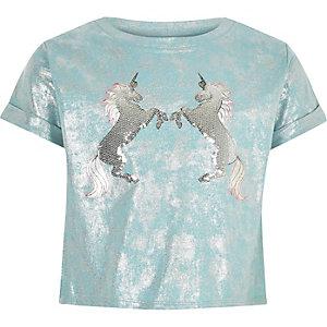 T-shirt motif licorne bleu clair coupe courte pour fille