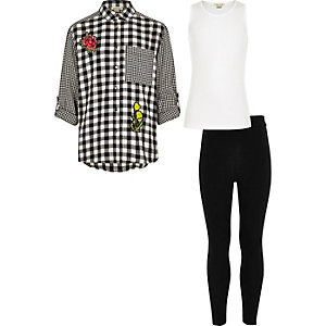 Girls black shirt top and leggings set