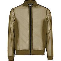 Girls khaki mesh bomber jacket