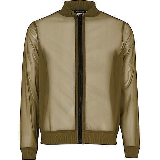 Girls khaki mesh bomber jacket