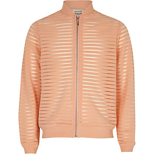 Girls coral mesh bomber jacket