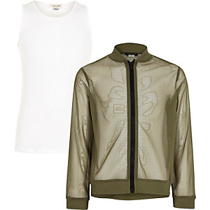 Girls khaki mesh bomber jacket and tank set