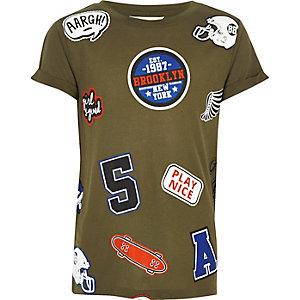 Kaki T-shirt met badges voor meisjes