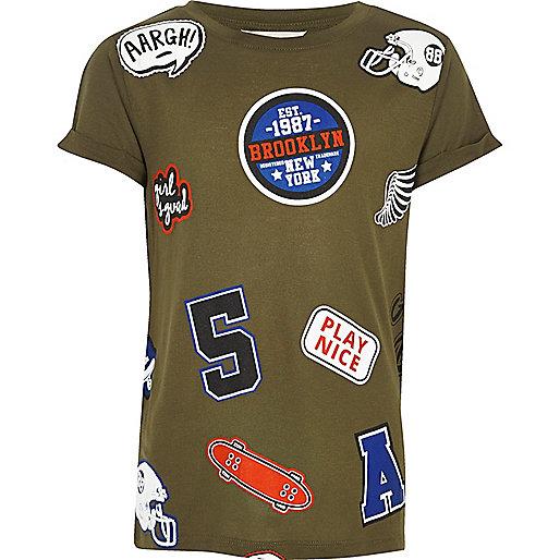 Girls khaki badge T-shirt