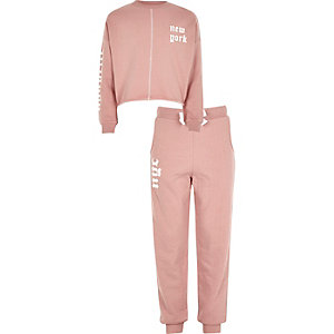 Girls New York jumper and jogger set