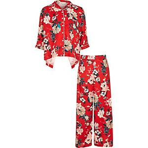 Girls red floral print set