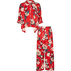 Girls red floral print set