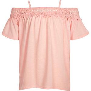 Girls light pink cold shoulder lace top