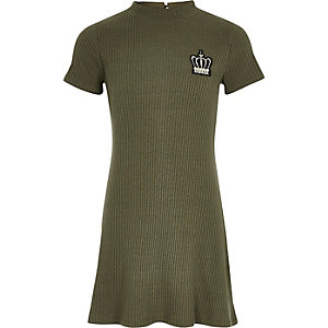 Girls khaki ribbed crown badge dress