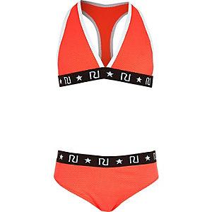 Girls coral triangle bikini set