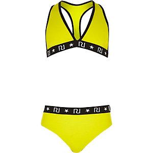 Girls yellow triangle bikini set
