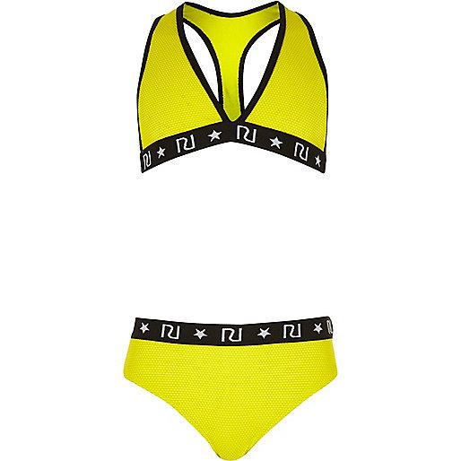 Girls yellow triangle bikini set
