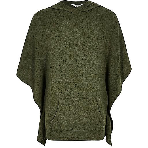Girls khaki super-soft poncho hoodie