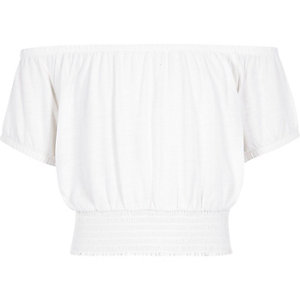 Witte crop top in bardotstijl voor meisjes