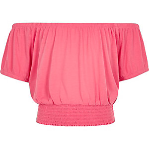 Crop top rose à encolure Bardot pour fille