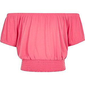 Roze korte bardot-top voor meisjes