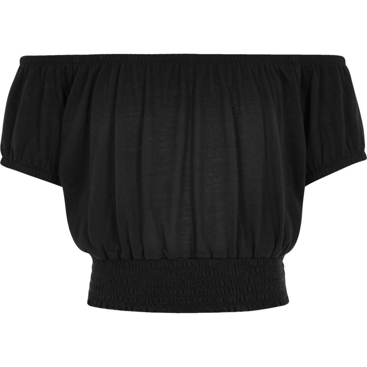 Girls black bardot top