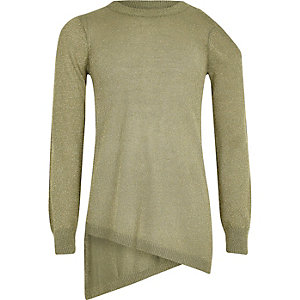 Girls olive green lurex asymmetric hem jumper