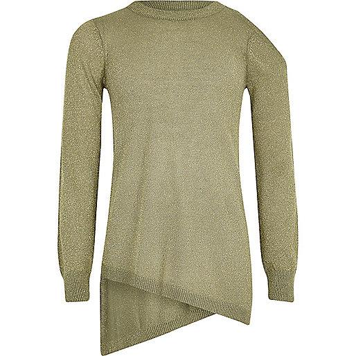 Girls olive green lurex asymmetric hem sweater