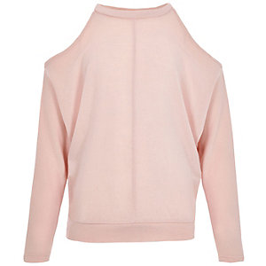 Girls pink batwing cold shoulder sweater