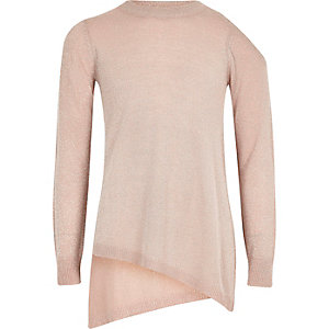 Girls pink lurex asymmetric hem jumper