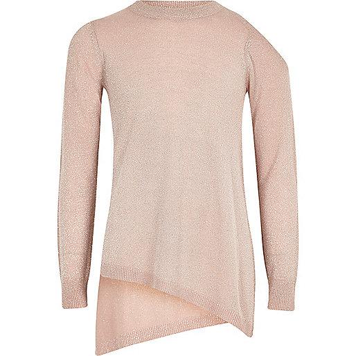 Girls pink lurex asymmetric hem sweater