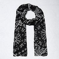 Foulard imprimé bandana noir pour fille