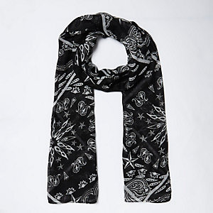 Girls black bandana scarf