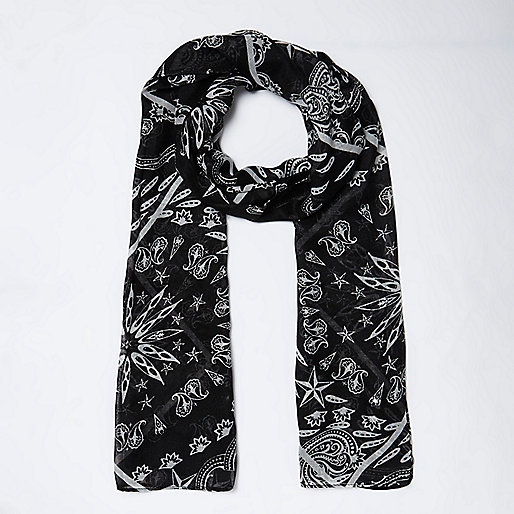 Girls black bandana scarf