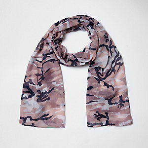 Girls pink camo scarf