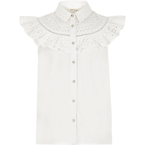 Girls white sleeveless ruffle top