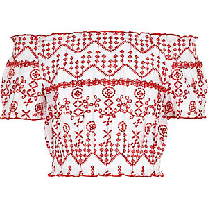 Girls white embroidered bardot crop top