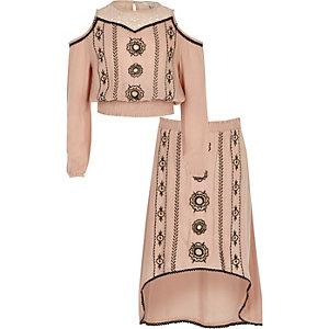 Girls pink cold shoulder top and skirt set
